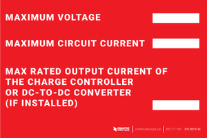 Maximum Voltage / Current Label