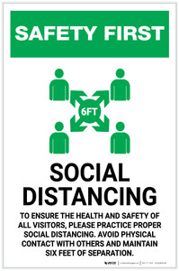 Safety First: Social Distancing to Ensure Health with Icon Portrait - Label