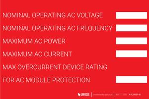 Nominal Operating AC Voltage Label