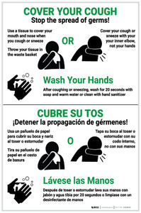 Cover Your Cough - Stop the Spread of Germs Bilingual with Icons Portrait - Label