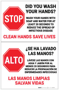 Stop! Did You Wash Your Hands Spanish Bilingual Portrait - Label