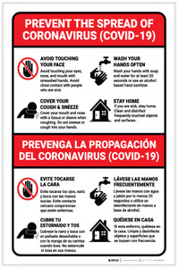 Prevent the Spread of Coronavirus Bilingual with Icons Portrait - Label