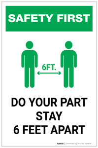 Safety First: Do Your Part Stay 6 Feet Apart with Icon Portrait - Label