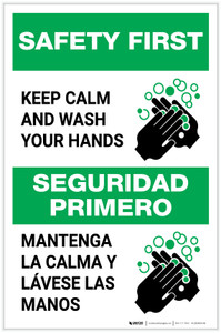 Safety First: Keep Calm and Wash Your Hands Bilingual with Icon Portrait - Label