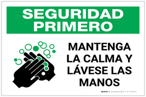 Safety First: Keep Calm and Wash Your Hands Spanish with Icon Landscape - Label