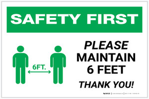 Safety First: Please Maintain 6 Feet with Icon Landscape - Label