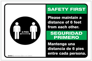 Safety First: Please Maintain A Distance Of 6 Feet Bilingual with Icon Landscape - Label