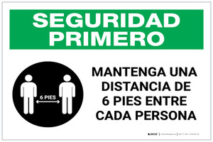 Safety First: Please Maintain A Distance Of 6 Feet Spanish with Icon Landscape - Label