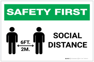 Safety First: Social Distance 6 Ft 2m with Icon Landscape - Label