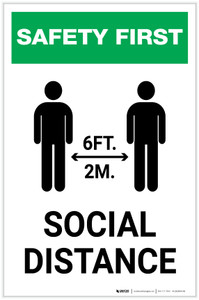 Safety First: Social Distance 6 Ft 2m with Icon Portrait - Label