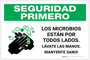 Safety First: Stay Healthy Wash Your Hands Spanish with Icon Landscape - Label