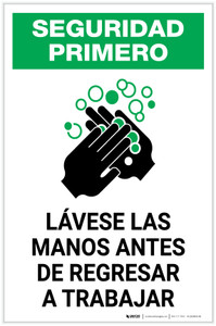 Safety First: Wash Hands Before Returning To Work Spanish with Icon Portrait - Label