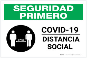 Safety First: COVID-19 Social Distancing Spanish with Icon Landscape - Label