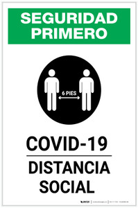 Safety First: COVID-19 Social Distancing Spanish with Icon Portrait - Label