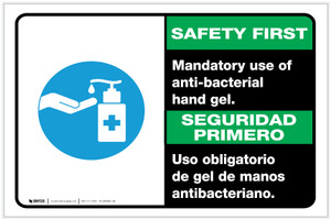 Safety First: Mandatory Use Of Anti-Bacterial Hand Gel Bilingual With Icon Landscape - Label