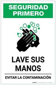 Safety First: Wash Your Hands Avoid Contamination Spanish with Icon Portrait - Label