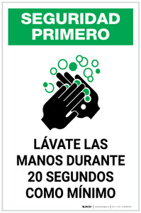 Safety First: Wash Your Hands For At Least 20 Seconds Spanish with Icon Portrait - Label