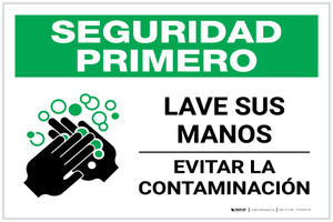 Safety First: Wash Your Hands Spanish with Icon Landscape - Label