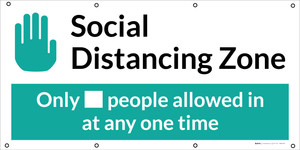 Social Distancing - 2m One Customer At A Time with Icon Blue V2 - Banner