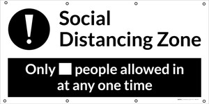 Social Distancing - 2m One Customer At A Time with Icon Blue - Banner