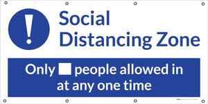 Social Distancing - 6ft One Customer At A Time with Icon Blue - Banner