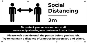 Social Distancing - 6ft One Customer At A Time with Icon V2 - Banner