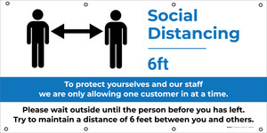 Social Distancing Zone - Maximum People Allowed with Exclamation Point Blue - Banner