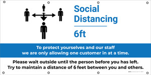 Social Distancing Zone - Maximum People Allowed with Exclamation Point - Banner
