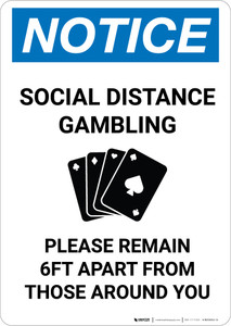 Notice: Social Distance Gambling - Please Remain 6Ft Apart Portrait - Wall Sign