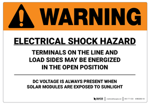Warning: Electrical Shock Hazard/DC Voltage - Wall Sign