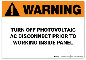 Warning: Turn Off Photovoltaic - Wall Sign