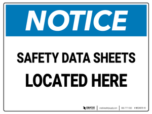 Notice: Safety Data Sheets Located Here 2 - Wall Sign