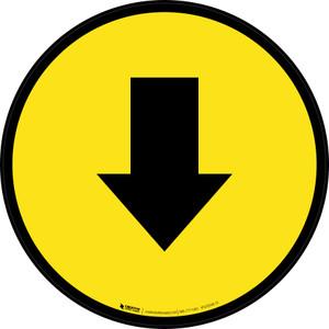 Down Arrow Yellow Circular - Floor Sign