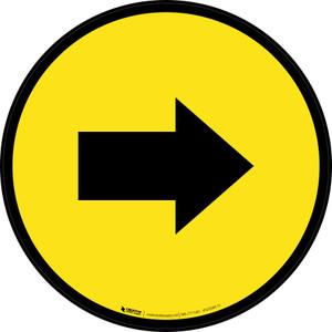 Right Arrow Yellow Circular - Floor Sign