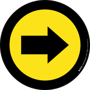 Right Arrow Yellow with Black Border Circular - Floor Sign