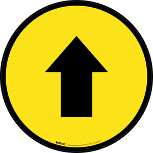 Up Arrow Yellow Circular - Floor Sign