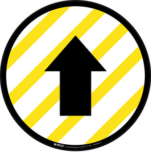 Up Arrow Yellow and White Circular - Floor Sign