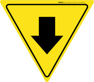 Down Arrow Yield - Floor Sign