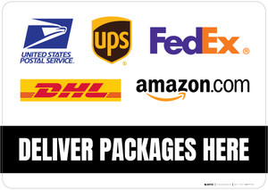 Deliver Packages Here with Logos Landscape - Floor Sign