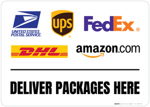 Deliver Packages Here with Logos v2 Landscape - Floor Sign