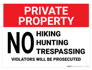 Private Property: No Hiking, Hunting, Trespassing - Wall Sign