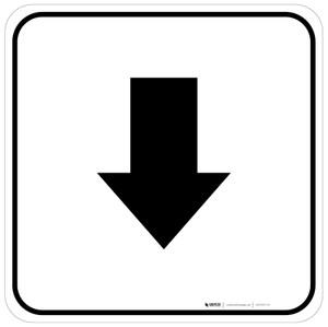 Down Arrow Black Square - Floor Sign