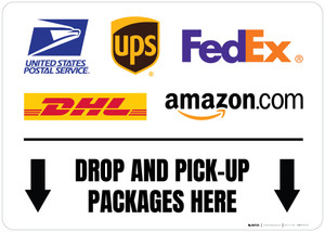 Drop And Pick-Up Packages Here Down Arrows with Logos Landscape - Floor Sign