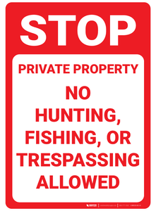 STOP: No Hiking, Hunting, Fishing, or Trespassing - Wall Sign