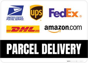 Parcel Delivery with Logos Landscape - Floor Sign