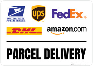 Parcel Delivery with Logos v2 Landscape - Floor Sign