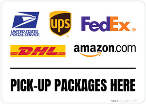 Pick-Up Packages Here with Logos v2 Landscape - Floor Sign