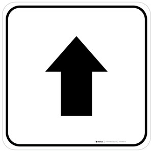 Up Arrow Black Square - Floor Sign