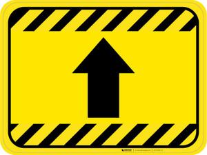 Up Arrow Hazard Striped Rectangle - Floor Sign