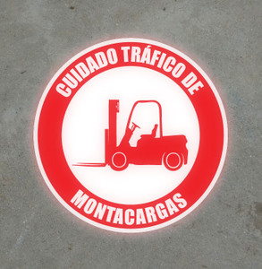 SignCast S300 Virtual Sign - Watch Out for Forklift Traffic (Spanish)